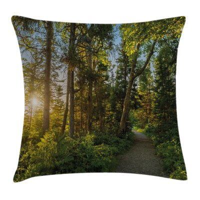 National Park Trees Path Square Pillow Cover Size: 18 x 18