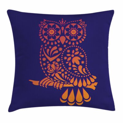 Ornamental Vintage Owl Square Cushion Pillow Cover Size: 16 x 16