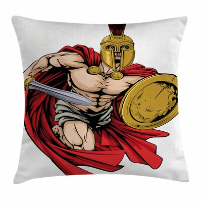 Warrior Sword Shield Square Cushion Pillow Cover Size: 18 x 18