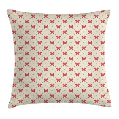 Butterfly Cute Retro Dots Square Pillow Cover Size: 24 x 24
