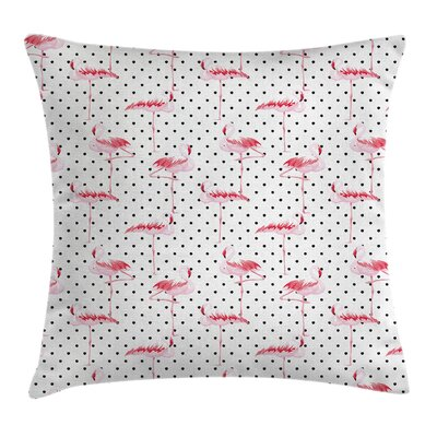 Flamingo Birds Polka Dots Square Pillow Cover Size: 16 x 16