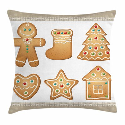 Gingerbread Man Cute Pastry Square Pillow Cover Size: 18 x 18
