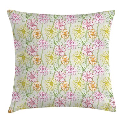 Waterproof Floral Graphic Print Square Pillow Cover with Zipper Size: 16 x 16