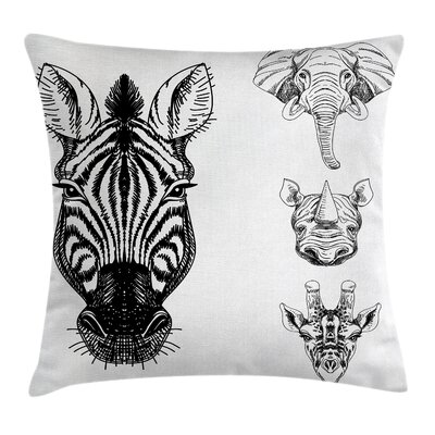 Safari Wildlife Sketch Cushion Pillow Cover Size: 18 x 18