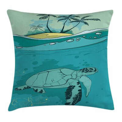 Sea Turtle Exotic Island Square Pillow Cover Size: 16 x 16