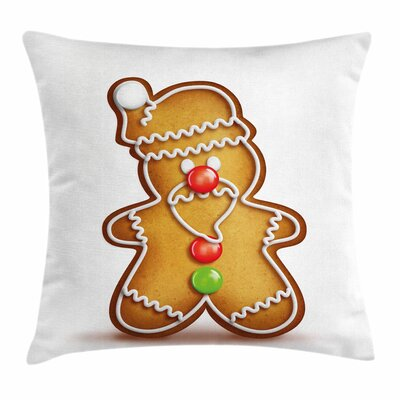 Gingerbread Man Cartoon Santa Square Pillow Cover Size: 18 x 18