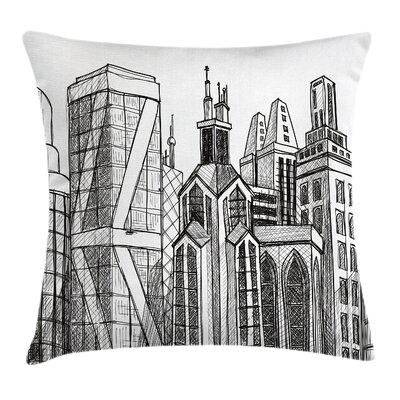Buildings Sketch Pillow Cover Size: 18 x 18