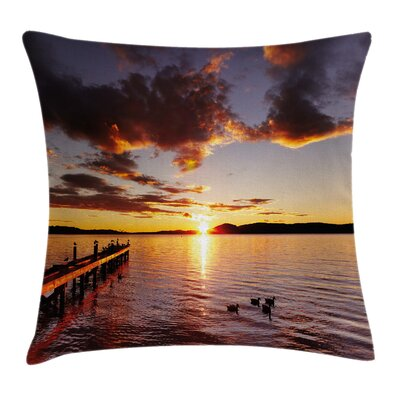 Coastal Lake Rotorua at Sunrise Square Pillow Cover Size: 18 x 18