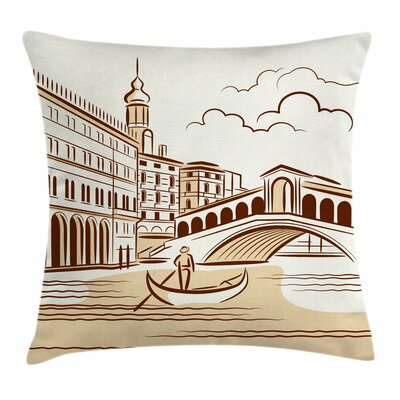 Venetian Landscape Art Square Pillow Cover Size: 18 x 18