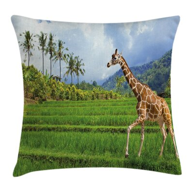 Tropical Wild Animals Cushion Pillow Cover Size: 18 x 18