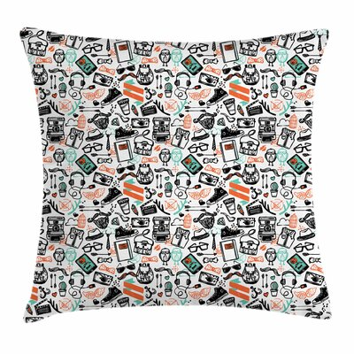 Hipster Fashion Sketch Square Cushion Pillow Cover Size: 16 x 16