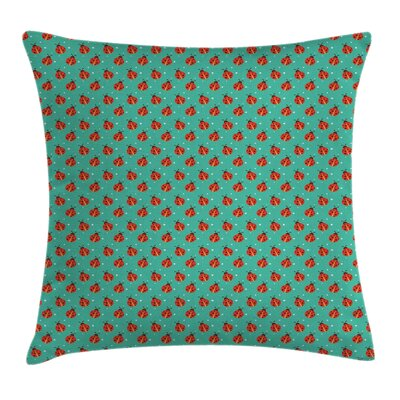 Modern Cute Ladybugs Tiny Stars Square Pillow Cover Size: 16 x 16