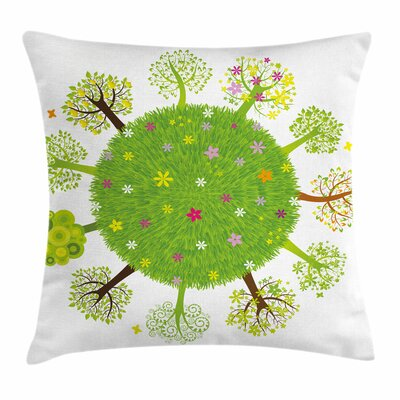 Earth Various Trees Bloom Square Pillow Cover Size: 16 x 16