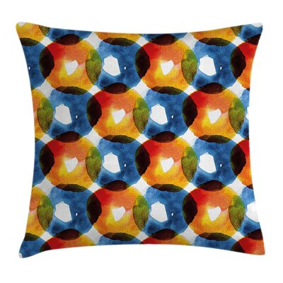 Modern Watercolor Ring Shapes Square Pillow Cover Size: 16 x 16