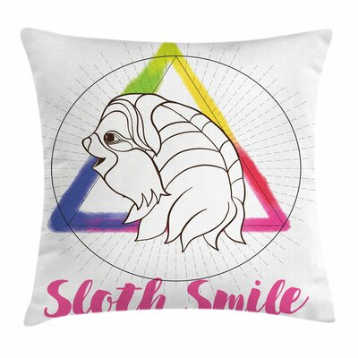 Sloth Smiling Geometric Square Pillow Cover Size: 16 x 16