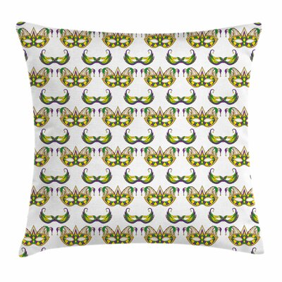 Mardi Gras Festive Mask Pattern Square Cushion Pillow Cover Size: 24 x 24