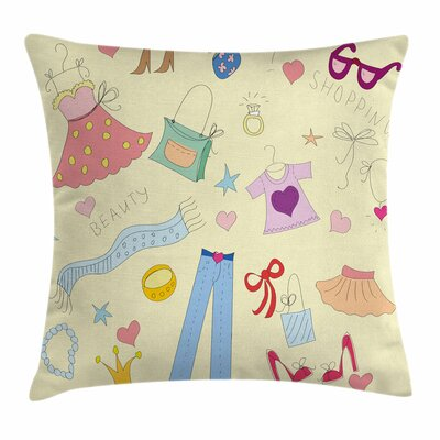 Heels and Dresses Doodle Items Square Pillow Cover Size: 18 x 18