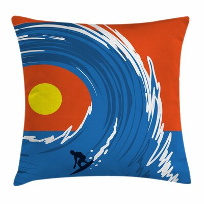 Man Giant Waves Square Cushion Pillow Cover Size: 24 x 24