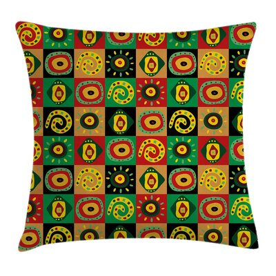 Tribal Trippy Figures Cushion Pillow Cover Size: 18 x 18