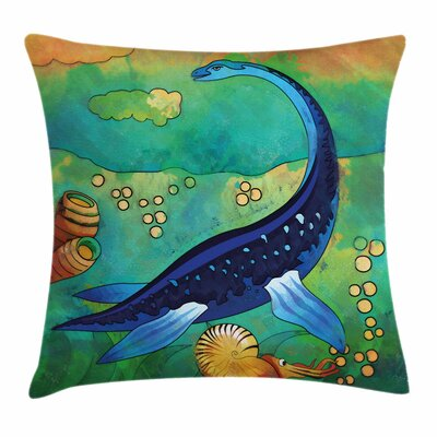 Dinosaur Ancient Sea Creature Square Cushion Pillow Cover Size: 16 x 16