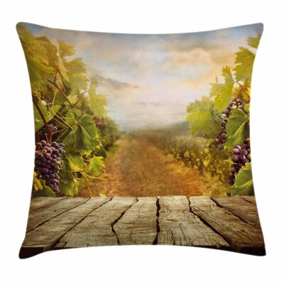 Wine Vineyard Grape Lush Garden Square Pillow Cover Size: 24 x 24