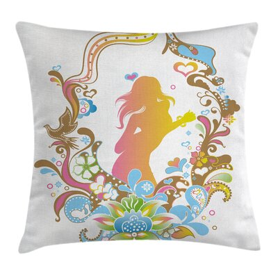 Floral and Girl Pillow Cover with Zipper Size: 24 x 24