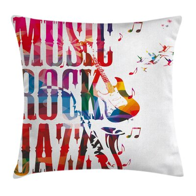 Rock Jazz Lettering Cushion Pillow Cover Size: 16 x 16