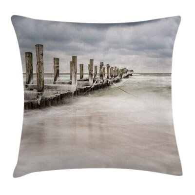 Groyne Zingst Germany Square Pillow Cover Size: 16 x 16