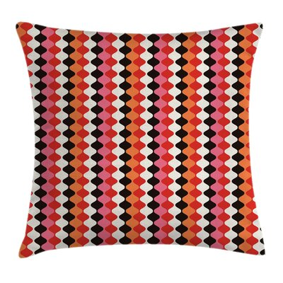 Curved Oval Abstract Square Pillow Cover Size: 16 x 16