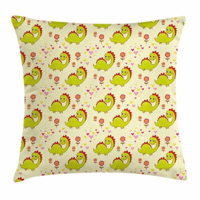 Dinosaur Cute Dinosaur Square Cushion Pillow Cover Size: 18 x 18
