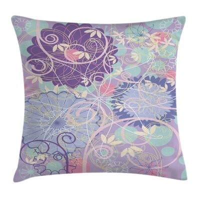 Modern Floral Square Pillow Cover with Zipper Size: 18 x 18