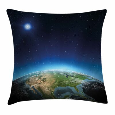 North America Galaxy View Square Pillow Cover Size: 16 x 16