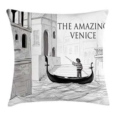 Canals Child Gondolier Square Pillow Cover Size: 24 x 24