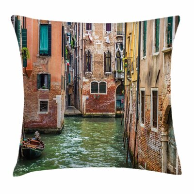 Famous Streets on Water Square Pillow Cover Size: 18 x 18
