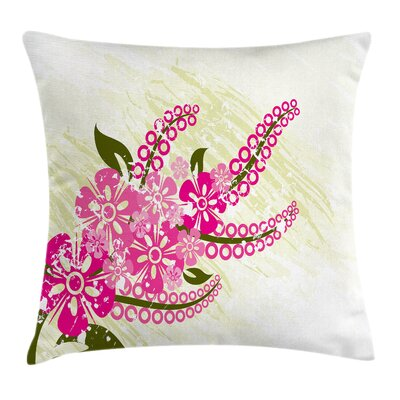 Pink Flower Pillow Cover Size: 24 x 24