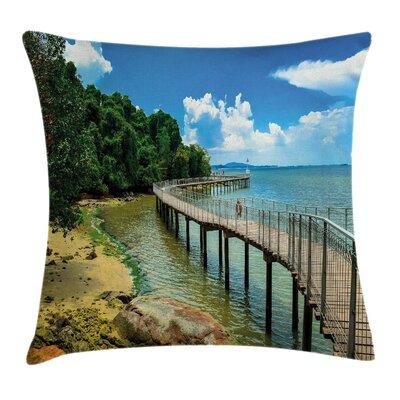 Coastal Boardwalk Sandy Shore Square Pillow Cover Size: 16 x 16