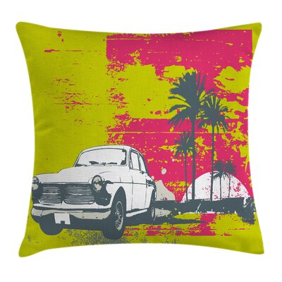 Grunge Vintage Cars with Palms Cushion Pillow Cover Size: 16 x 16