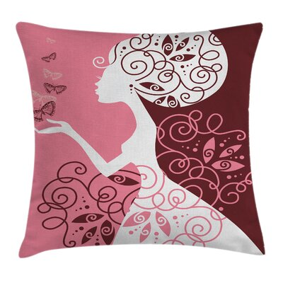 Girl Butterflies Flowers Square Pillow Cover Size: 18 x 18
