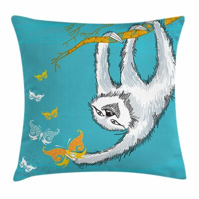 Sketchy Sloth Butterflies Square Pillow Cover Size: 20 x 20