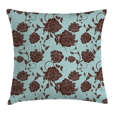 Modern Stain Resistant Floral Square Pillow Cover with Zipper Size: 18 x 18