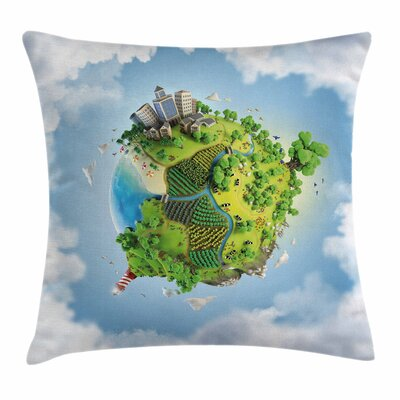 Cartoon Globe Ery Square Pillow Cover Size: 18 x 18