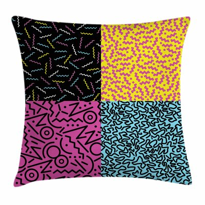 Eighties Funky Pop Doodle Square Cushion Pillow Cover Size: 24 x 24