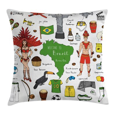 Modern Brazilian Nation Symbols Square Pillow Cover Size: 16 x 16