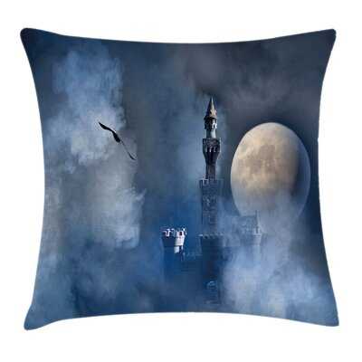 Fantasy Castle on Clouds Gothic Square Pillow Cover Size: 24 x 24