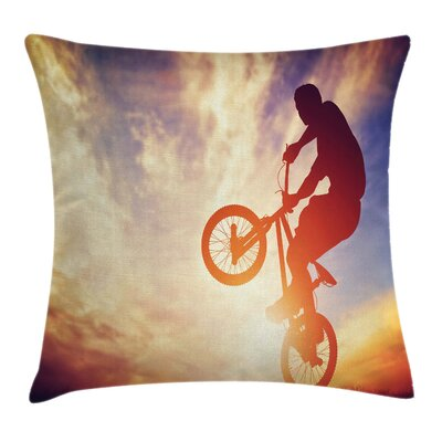 Modern Man on Bike Hazy Sun Cushion Pillow Cover Size: 18 x 18