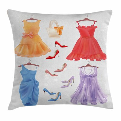 Heels and Dresses Party Attire Square Pillow Cover Size: 16 x 16