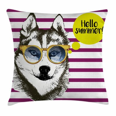 Alaskan Malamute Sketch Stripes Square Pillow Cover Size: 18 x 18