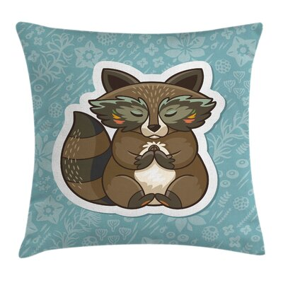 Cartoon Cute Raccoon on Meadow Cushion Pillow Cover Size: 16 x 16
