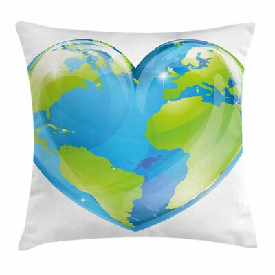 Earth Vibrant Globe Heart Shape Square Cushion Pillow Cover Size: 16 x 16