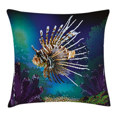 Bubble Fish and Plants Square Pillow Cover Size: 16 x 16